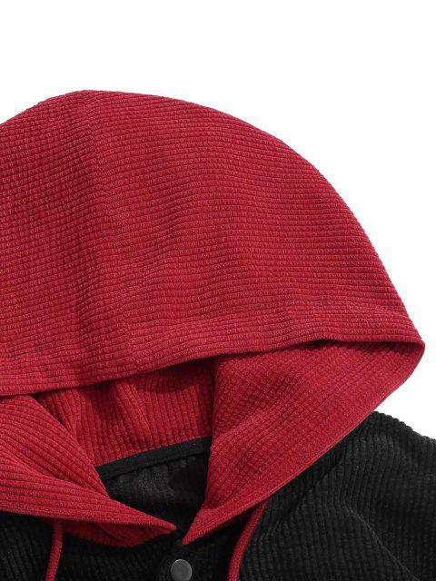 Veste à Capuche Lettre Brodée avec Double Poches - Noir S Mobile