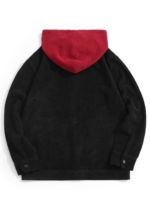 buy Hooded Letter Embroidered Double Pockets Jacket - BLACK S Mobile