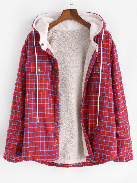 best Plaid Faux Fur Fluffy Pocket Hooded Shirt Jacket - RED M Mobile