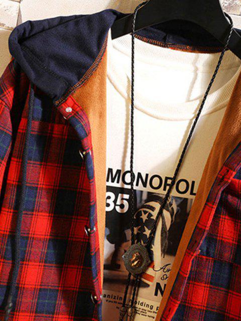 Veste à Capuche à Carreaux en Blocs de Couleurs en Laine - Rouge foncé XS Mobile