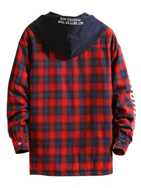 Plaid Fleece Colorblock Hooded Shirt Jacket - أحمر عميق L Mobile