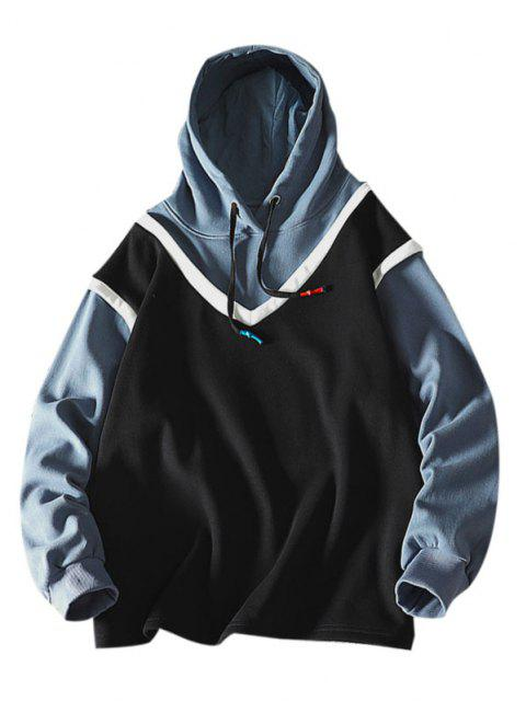 hot Colorblock Faux Twinset Hoodie - BLACK S Mobile