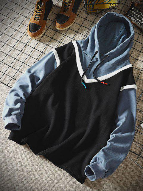fashion Colorblock Faux Twinset Hoodie - BLACK XL Mobile