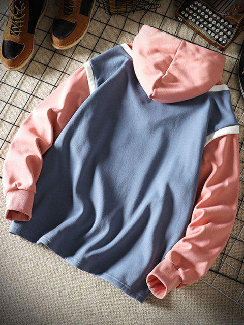 chic Colorblock Faux Twinset Hoodie - DENIM BLUE 2XL Mobile