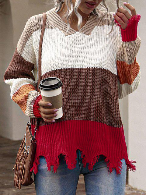 ドロップショルダー配色擦り切れセーター - マルチ M Mobile