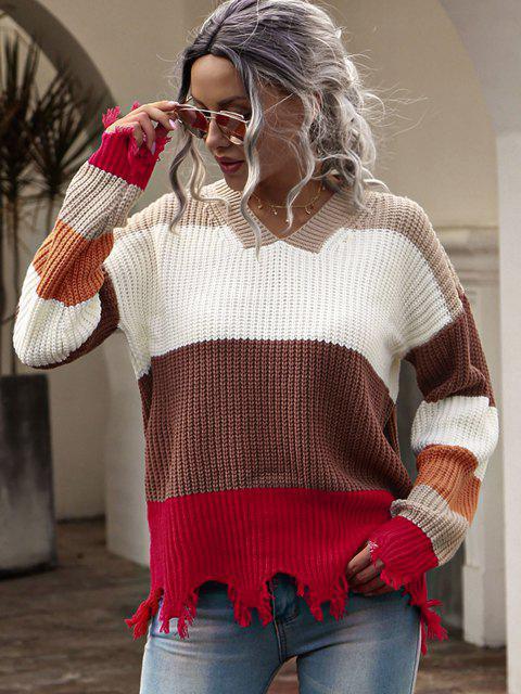 Pullover mit Hängender Schulter und Farbblock - Multi M Mobile