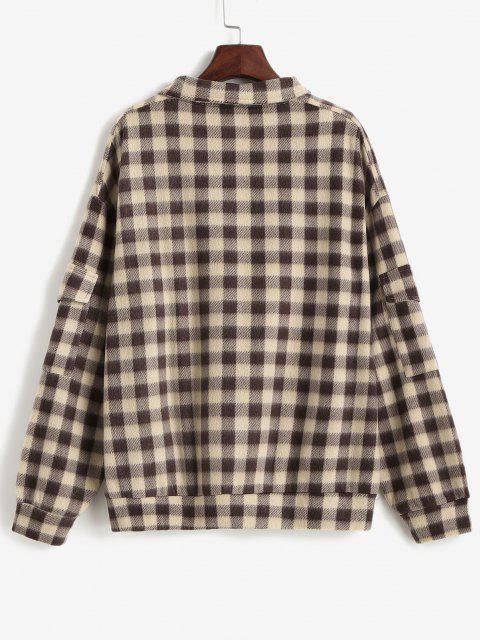 sale ZAFUL Plaid Quarter Zip Pockets Flannel Sweatshirt - DEEP COFFEE L Mobile
