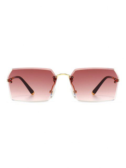 trendy Ombre Cutting Edge Irregular Sunglasses - RED WINE  Mobile