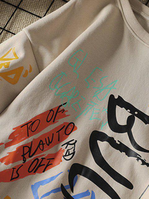 Sweatshirt mit Buchstaben und Rundhals - Khaki M Mobile