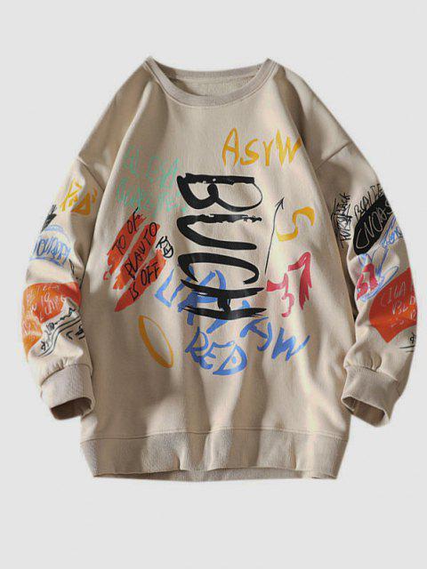 Sweatshirt mit Buchstaben und Rundhals - Khaki L Mobile