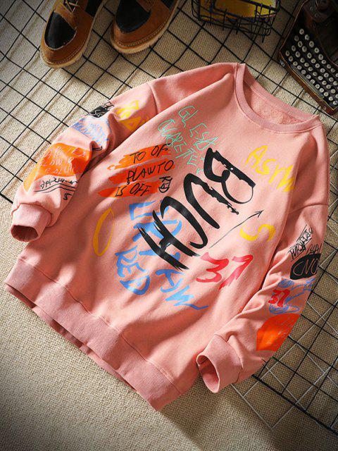 womens Letter Paint Graphic Crew Neck Sweatshirt - PINK XL Mobile