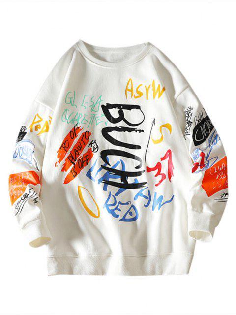 online Letter Paint Graphic Crew Neck Sweatshirt - WHITE 2XL Mobile