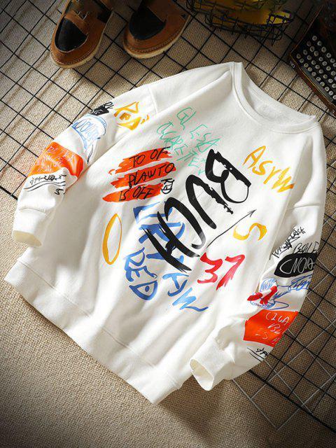 Sweatshirt mit Buchstaben und Rundhals - Weiß XL Mobile
