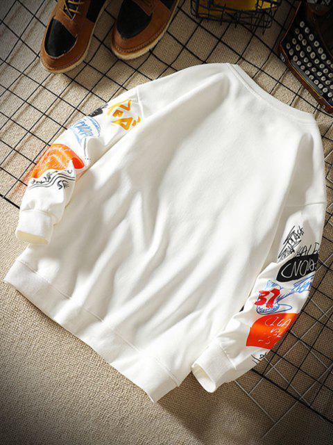 Sudadera con Cuello Redondo de Estampado de Letras - Blanco L Mobile