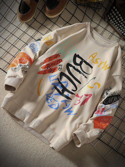 Sweatshirt mit Buchstaben und Rundhals - Khaki 3XL Mobile