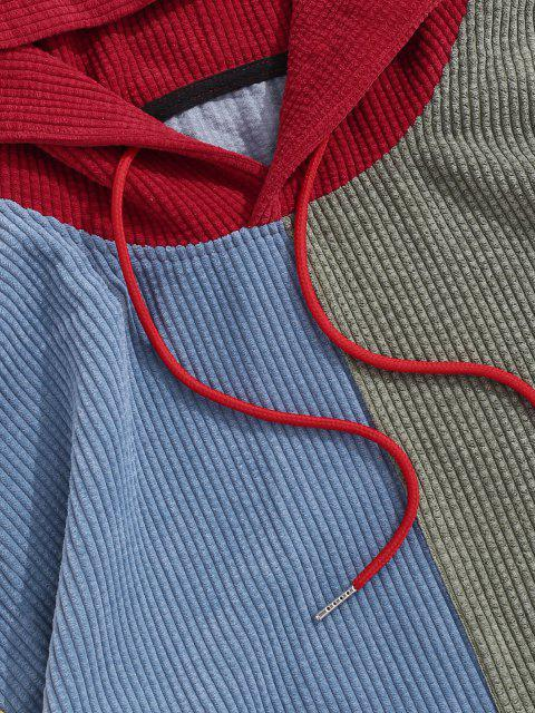 latest Corduroy Color Blocking Patchwork Hoodie - RED XL Mobile
