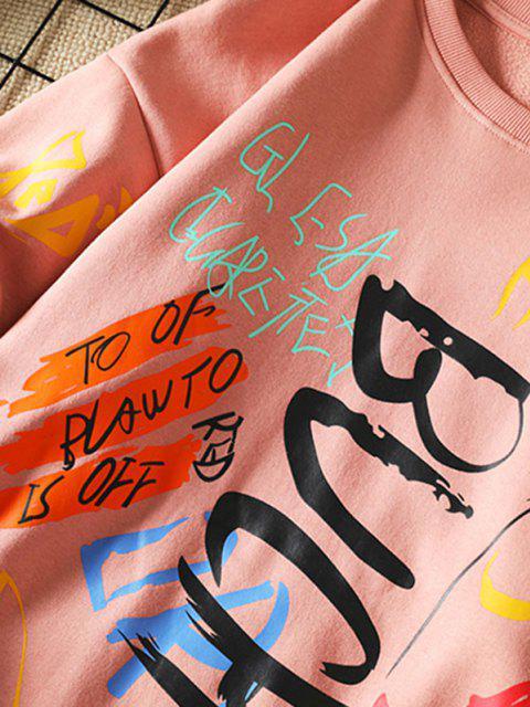 Sweatshirt mit Buchstaben und Rundhals - Rosa 3XL Mobile