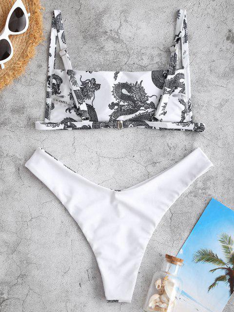 trendy ZAFUL Dragon Print Oriental Cheeky Bikini Swimwear - WHITE S Mobile
