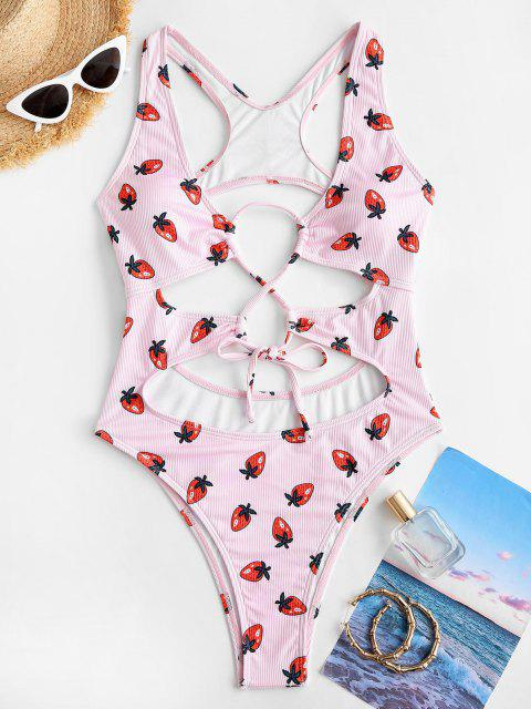 ZAFUL Strawberry Ribbed Cutout Racerback One-piece Swimsuit - وردي فاتح L Mobile