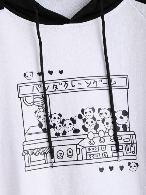 women Raglan Sleeve Oversize Panda Graphic Hoodie - MULTI-A M Mobile