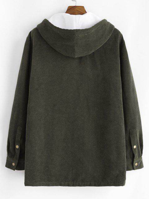shop Hooded Double Pockets Fleece Corduroy Jacket - ARMY GREEN XL Mobile