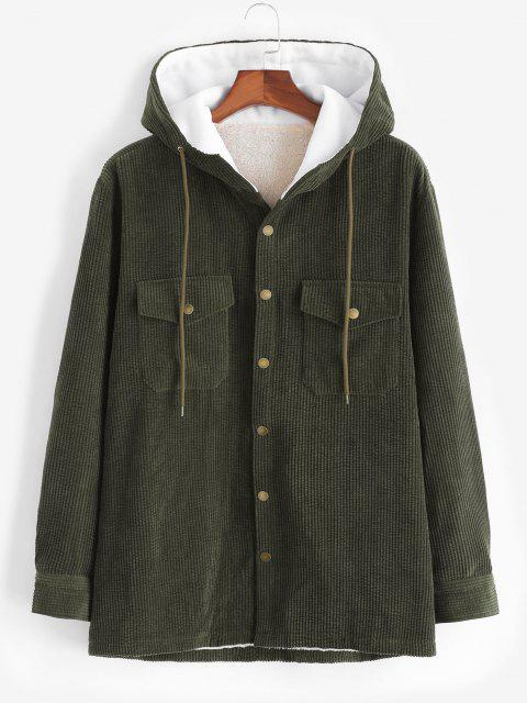 trendy Hooded Double Pockets Fleece Corduroy Jacket - ARMY GREEN L Mobile