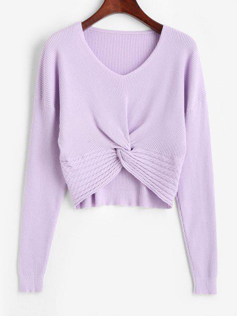 shop V Neck Twisted Hem Cable Knit Knitwear - PURPLE FLOWER ONE SIZE Mobile