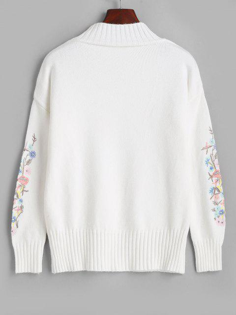 online High Neck Floral Embroidered Drop Shoulder Sweater - MILK WHITE ONE SIZE Mobile