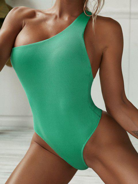 lady ZAFUL Ribbed One Shoulder Plain Cutout One-piece Swimsuit - LIGHT GREEN M Mobile