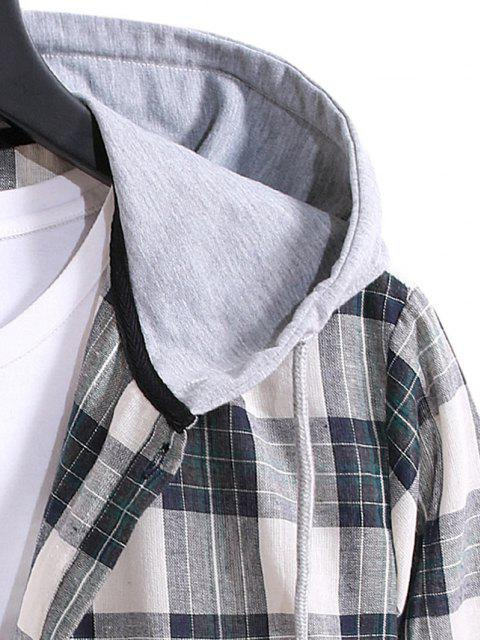 online Drawstring Hooded Plaid Print Button Up Shirt - GRAYISH TURQUOISE L Mobile