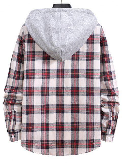 outfit Drawstring Hooded Plaid Print Button Up Shirt - CHESTNUT RED S Mobile