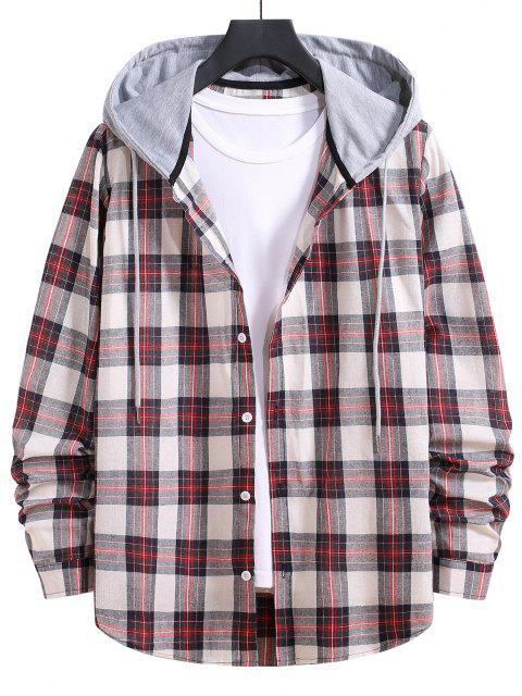 outfits Drawstring Hooded Plaid Print Button Up Shirt - CHESTNUT RED M Mobile