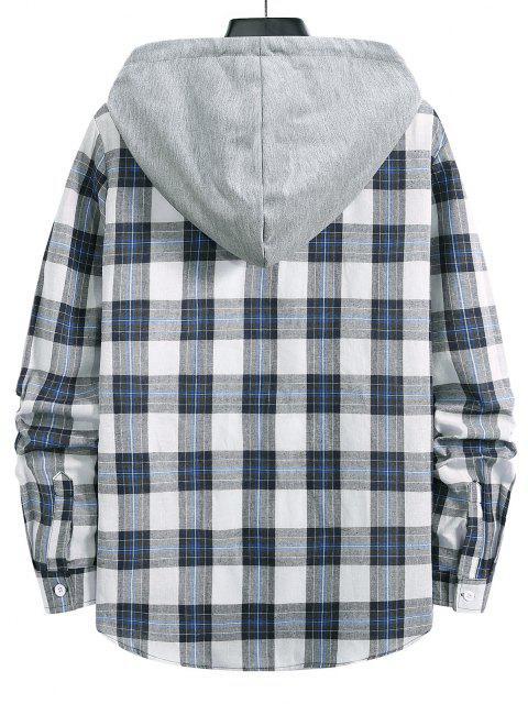 Camisa con Capucha a Cuadros con Botón - Azul Oscuro de Denim S Mobile