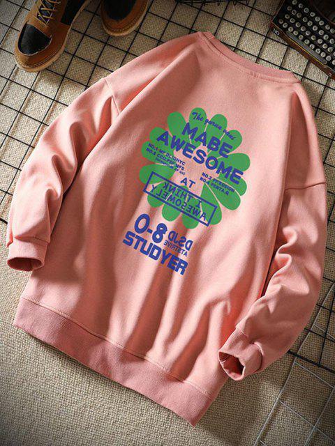Sweat-shirt Lettre Graphique Fleur Design - Rose  XL Mobile