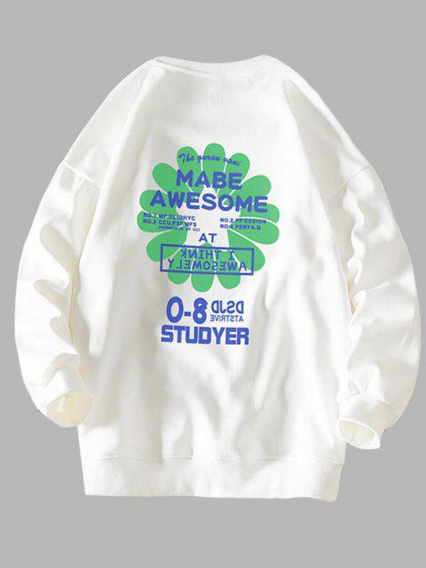 Sweat-shirt Lettre Graphique Fleur Design - Blanc 3XL Mobile
