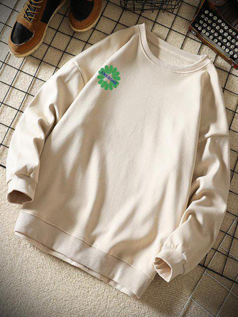 outfits Awesome Flower Letter Print Graphic Sweatshirt - KHAKI XL Mobile