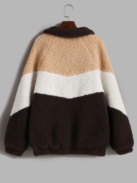 ZAFUL Zip Up Colorblock Pockets Teddy Coat - قهوة L Mobile