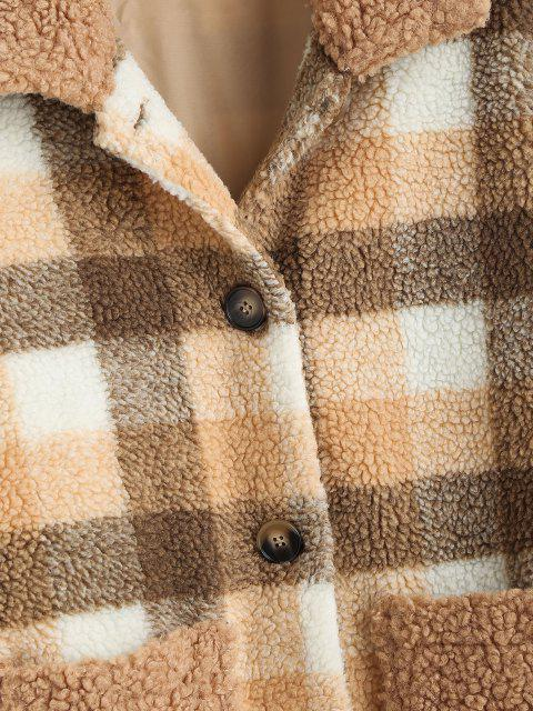 outfit ZAFUL Button Up Plaid Pockets Teddy Jacket - COFFEE S Mobile