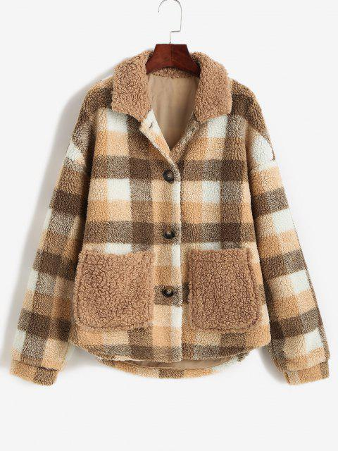 ZAFUL Button Up Plaid Pockets Teddy Jacket - قهوة S Mobile