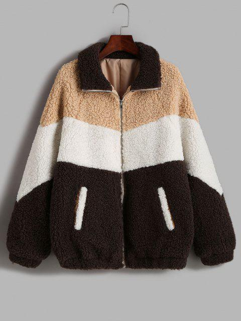 affordable ZAFUL Zip Up Colorblock Pockets Teddy Coat - COFFEE M Mobile