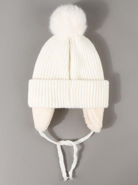 ladies Inner Plush Knitted Ear Warmer Beanie - WHITE  Mobile
