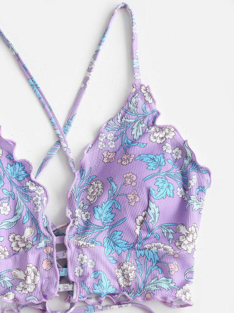 ZAFUL Pflanzendruck Gerippter Kopfsalat Tankini Badebekleidung mit Schnürung - Helles Lila S Mobile