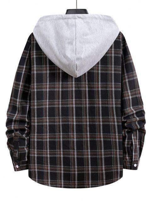 women Hooded Plaid Print Button Up Drawstring Shirt - BLACK S Mobile