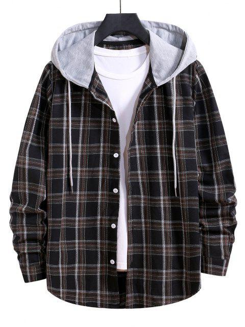 women's Hooded Plaid Print Button Up Drawstring Shirt - BLACK L Mobile
