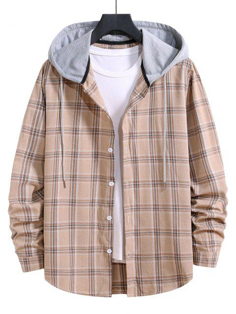 affordable Hooded Plaid Print Button Up Drawstring Shirt - BLANCHED ALMOND XL Mobile
