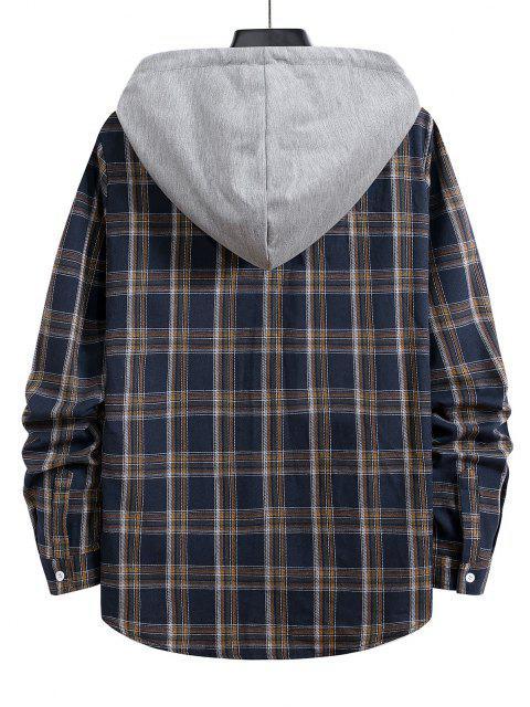 hot Hooded Plaid Print Button Up Drawstring Shirt - DENIM DARK BLUE M Mobile