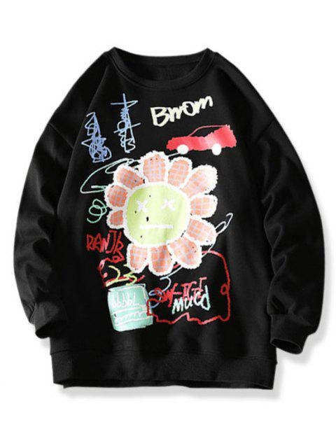 Cartoon Smiling Flower Letter Graphic Sweatshirt - أسود 3XL Mobile