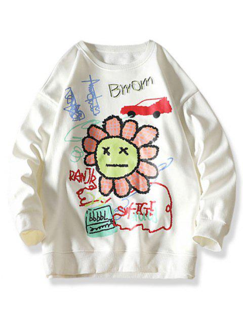 women's Cartoon Smiling Flower Letter Graphic Sweatshirt - WHITE XL Mobile