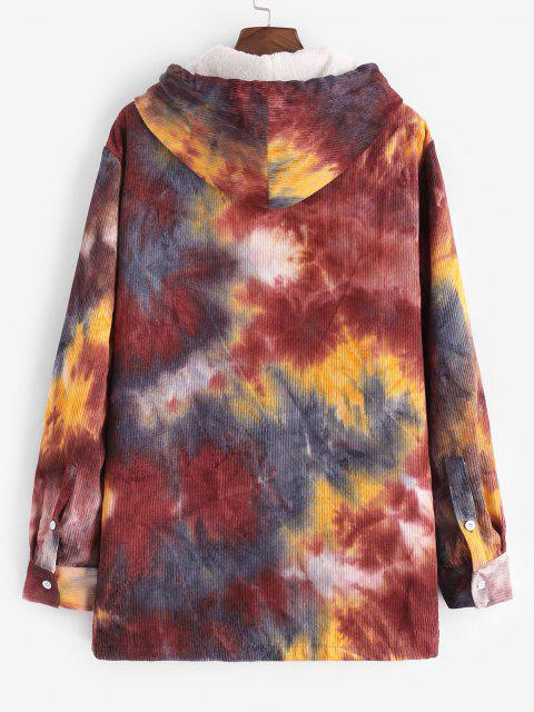 ladies Hooded Tie Dye Pattern Fleece Corduroy Jacket - RED WINE 2XL Mobile