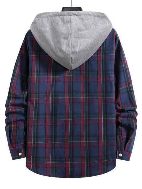 outfit Hooded Plaid Print Drawstring Shirt - DENIM DARK BLUE L Mobile